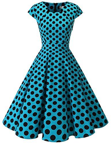 Homrain Mujeres 1950 Vintage Cap Manga Rockabilly cóctel Swing Vestido Blue Black Big Dot XS