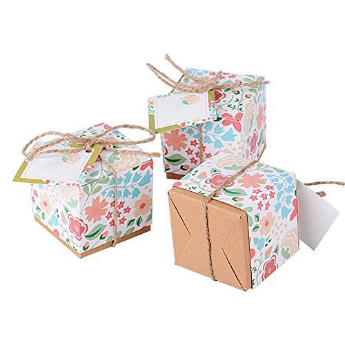 100pcs Cajas Cajitas Papel de Caramelos Bombones Dulces Galletas Regalos Recuerdos Detalles para Invitados de Boda Fiesta Bautizo con Cuerdas de Cáñamo y Tarjeta