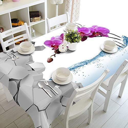 XXDD 3D Erbsenblume Tischdecke lila Blume wasserdicht verdickt Rechteck für Küchentischdekoration Tischdecke A3 140x140cm