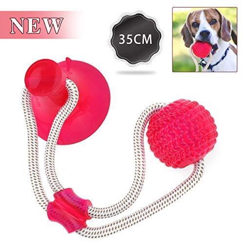 OUTERDO Pet Toys with Suction Cups, Dog Bite Rope Durable Self-Balloon Rubber Ball Toys, Multifunctional Molar Chew Toys, for Dental Care, Teeth Cleaning, Suitable for Dogs and Cats