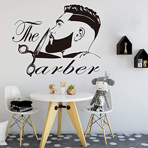 Barbería hombres barba peinado salón pared ventana calcomanía peluquería peluquería tijeras barbería pared pegatina A2 56x46cm