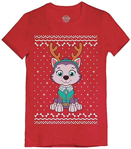 Quafoo Ugly Christmas Everest Reindeer Infant Girls' Fitted T-Shirt,Red,2T