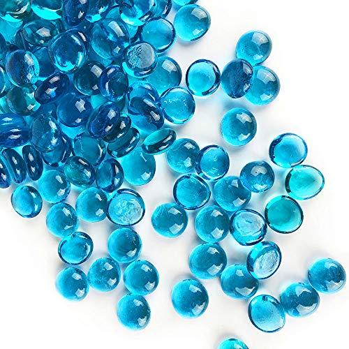 CYS EXCEL Light Blue Glass Gemstone Beads Vase Fillers (1 LB, Approx. 100 PCS) Flat Marble Beads Multiple Color Choices Aquarium Decor Rocks Floral Stones Decorative Mosaic Glass Gem Pebbles