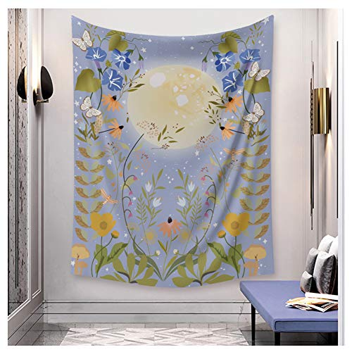 """MSOrient Purple Moonlit Garden Tapestry Flower Vine Tapestry Moon Phase Surrounded by Vines Purple Tapestry Purple Flowers Wall Decor Tapestry (Purple Moonlit Garden, 39.3""""(H) x 59.1""""(W) (100150cm))"""