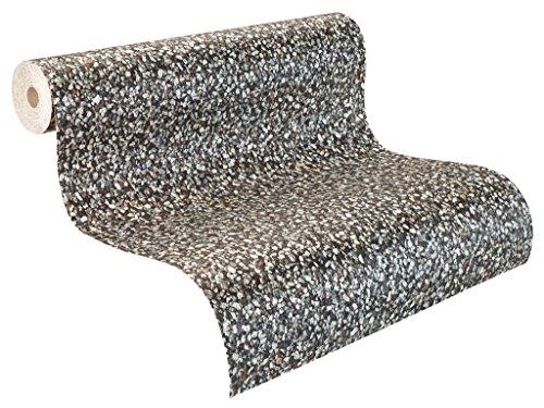 Rasch Tapeten 899603 Rasch Relief-Tapete auf Papier, Kieselsteine, Fototapete, Tiles & More XIII 899609, Weiß/Grau