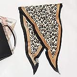 HINK-Home - Sciarpa avvolgente, alla moda, da donna, in raso, con diamanti, morbida seta leopardata Casual cachi