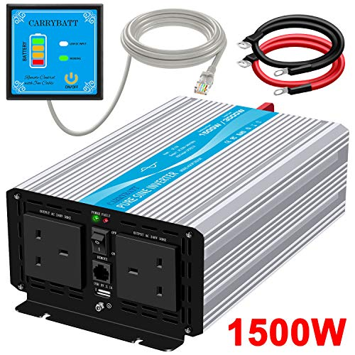 CARRYBATT 1500W Pure Sine Wave Power Inverter DC 12V to AC 230V 240V Converter With Remote Control, dual AC outlets,Dual cooling fans &1 USB Port for RV Truck Car