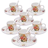 ufengke 4oz Set Tazzine da caffè Floreale, Servizio da tè da caffè in Porcellana, Set d...