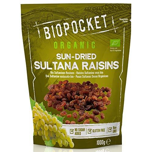Biopocket - Pasas sultanas ecológicas, 2 bolsas de 1 kg