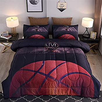 Btargot Basketball Comforter Sets Twin for Boys Teens,3D Sports Basketball Bedding,Soft Microfiber Reversible Quilt with 3 Matching Pillow Shams