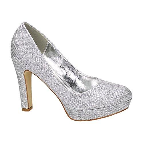 Klassische Damen Glitzer Pumps Stilettos High Heels Plateau Abend Schuhe Bequem 315 (38, Silber)
