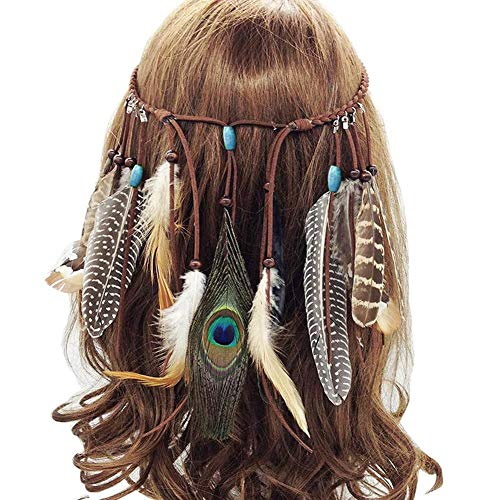 BESLIME Boho Feather Hoofdband, Indian Feather Headdress, Ketting Tailleband Pauw Hippie Hoofdband, Carnaval Hoofd Stukken Haaraccessoires Masquerade Fancy Jurk voor Feestfeest