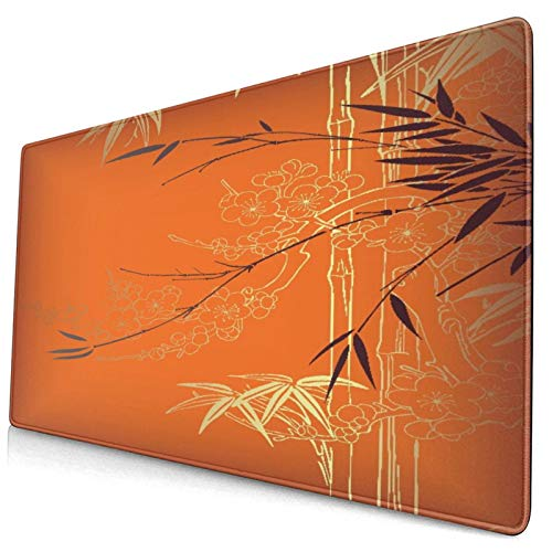"""Extra Large Gaming Mouse Pad with Stitched Edges,Abstract Bamboo,Non-Slip Rubber Base Computer Keyboard Mat,29.5"""" x 15.8"""""""