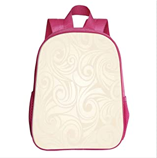 Ivory School Bag Backpack,Victorian Curved Renaissance Style Leaves Branches Artistic Classic Petals Illustration for Kindergarten Baby,9.4''Lx4.7''Wx11.8''H