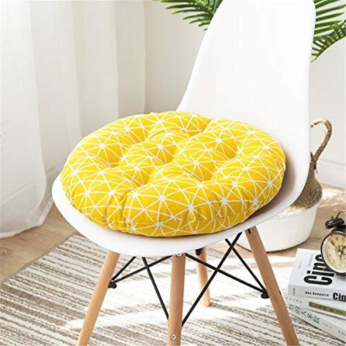 Cuscino rotondo per sedia, dimensioni di 45 cm, ottimo per sedia normale o giapponese, fabbricato in cotone e morbidissimo lino, articolo ideale per ufficio, interno ed esterno, giallo, 45 x 45 cm