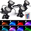 Pond Light Waterproof IP 68 Multi-Color & Adjustable & Dimmable Submersible Spotlight with 36-LED Bulbs Spot Lights for Aquarium Tank Garden Pool Lawn Fountain Waterfall (Set of 4) (Remote Control)
