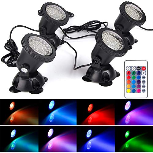SHOYO Underwater Light, Waterproof IP 68 Submersible Spotlight with 36-LED 7W Bulbs Multi-Color Spot...