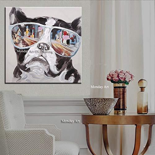 tzxdbh handgemaakt origineel schilderwerk canvas kunst groot decor abstracte dierenolieverfschilderij op canvas grote hond 60x80cm Geen frame.