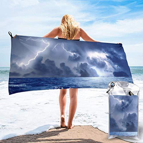 Toallas de Playa de Antiarena de Microfibra para Hombre Mujer, 130x80cm, Toallas Baño Calidad Gigante Secado Rapido para Piscina, Manta Playa, Toalla Yoga Deporte Gimnasio,Lightnin
