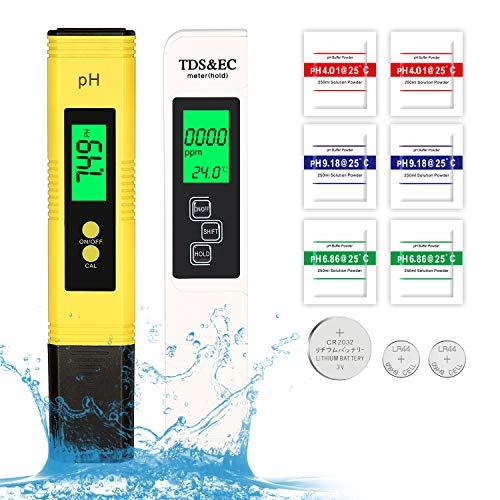 ECHOAN Wasserqualität Tester, PH Messgerät, TDS & EC Temperatur Messgerät 4 in 1 Set, LCD Anzeige,Wasserqualität, Digital Wasserqualitätstest Tester für Aquarium, Schwimmbad, Lebensmittel