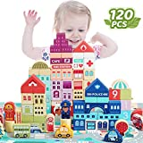 Wooden Building Blocks Set for Toddlers, Aitinake Creative City Construction Stacker Stacking Blocks with Puzzle Mat, Preschool Learning Educational Toys for Kids Boys Girls Gifts for 3+ Year Old