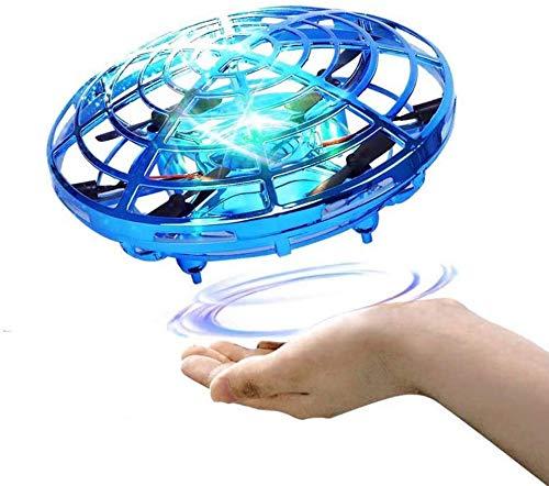 harupink Mini UFO Drone Giocattolo, Mini Drone Palla Volante Giocattolo Flying Ball Toy Aerei ad Induzione ad Infrarossi Rotanti a 360 °con luci a LED, Regali per Ragazzi e Ragazze (blu)
