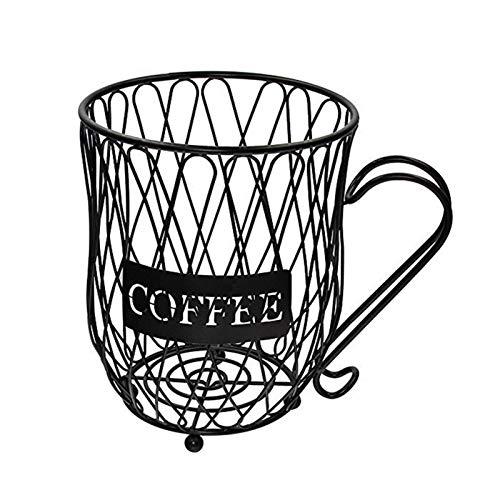 ZSooner Kaffe Pod hållare utrymme sparar enkel stor kapacitet förvaringskorg kopp form skåp multianvändning bänk bar europeisk stil kopp organiserare hem kök järntråd rostfri