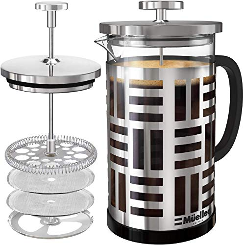 Mueller SOHO Glass French Press Coffee Maker (8 cups, 34 oz), 304 Stainless Steel Coffee Press with 4 Stage Filtration, Durable Easy Clean Heat Resistant Borosilicate Glass