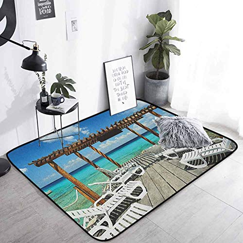 Travel Welcome Door Mat Beach Sunbeds Ocean Sea Scenery with Wooden Seem Pier Image Print Carpet Super Absorbent Cream for Dining Room Home Bedroom, W31 x L47 Blue White and Pale Brown
