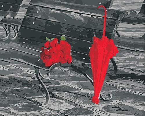 liuhaha Malen nach Zahlen für Erwachsene und Kinder Roter Regenschirm neben Korbstuhl Malen nach Zahlen Wandkunst Bild Leinwand Gemälde für Wohnkultur Artwork 40x50 cm(Rahmenlos)
