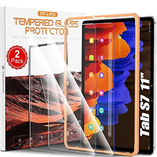 INFILAND Pellicola Protettiva per Samsung Galaxy Tab S7, per Samsung Galaxy Tab S7 (SM-T870/875) 11 2020, Protezione per Pellicola in Vetro Temperato Anti-luce blu, 2 Pack