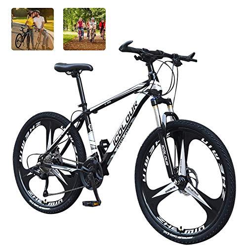 KaiKai Hardtail Mountain Trail Bike 24 Zoll, 3-Speichen-Räder Federgabel Herren Trail Bike mit Scheibenbremsen, Stahl-Rahmen-Fahrrad-MTB, Rot, 21 Geschwindigkeit (Color : Black, Size : 27 Speed)