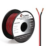 TYUMEN 100FT 22 Gauge 2pin 2 Color Red Black Cable Hookup Electrical Wire LED Strips Extension Wire, 22AWG OFC 12V/24V DC Extension Cable Wire Cord for Led Strips Single Color 3528 5050