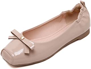 Women's Cute Square Toe Bow Flats Ladies Patent Loafers Slip-On Ballet Flat