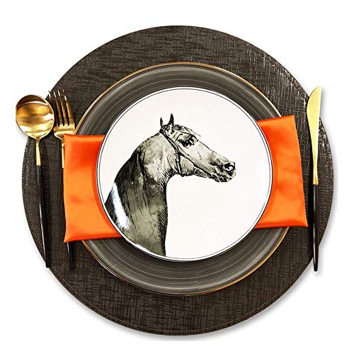 Juego de cena CLLX Phnom Penh, elegante plato de carne de cerámica con estampado de cabeza de caballo, vajilla de porcelana de hueso, regalo de inauguración de la casa