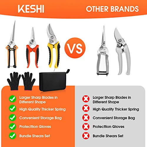 KeShi Garden Steel Pruning Shears, Professional Gardening Scissors Cutter Clippers Set, 3 Pack Stainless Steel Blades Handheld Pruners Set with Protect Garden Gloves and Storage Bag