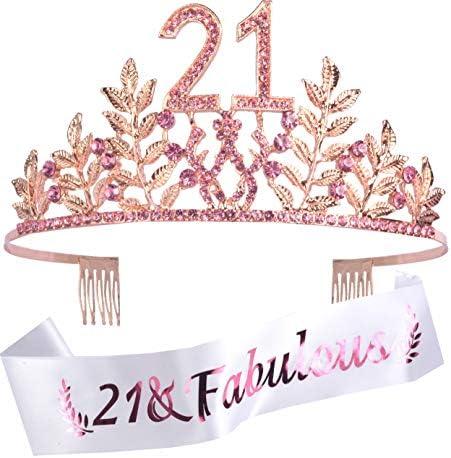 Finally 21 Birthday Sash 21st Birthday Gifts for Women 21st Birthday Crown 21st Birthday Sash product image