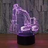 Wallfia Illusionslampe 3D Baggernachtlicht Illusion LED Tabelle Tauchen 7 Farben USB Neuheit Auto...