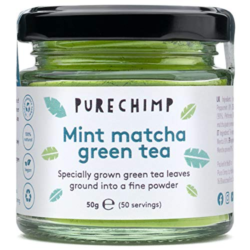 Mint Matcha Green Tea 50g Jar by PureChimp (Flavoured Super Tea) - Ceremonial Grade from Japan - All Natural & Vegan - Pesticide-Free - Recyclable Glass Jar & Aluminium Lid