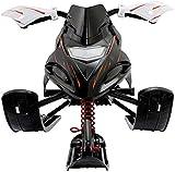 Control deslizante de nieve de trineo con volante y trineo de freno doble, patineta de invierno con polea,Black