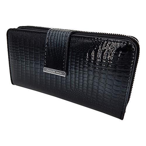 Elegante stilvolle Damen Geldbörse Portemonnaie aus hochwertigem Echtleder Lack Kroko-Design im Querformat (Schwarz-Glitzer)
