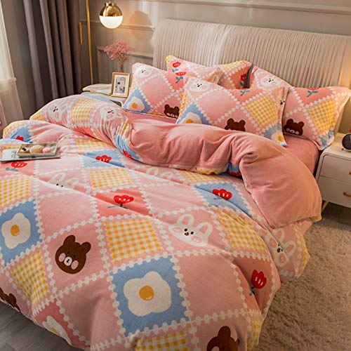 Cartoon Printed Duvet Cover,Reversible Teens Girls Comforter Cover,Thicken Flannel Quilt Cover WARM Plush Bedding Set(1PC)