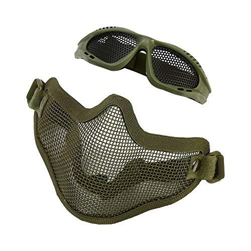 Media máscara Facial con protección para los Ojos Gafas de Malla metálica...
