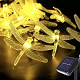 Dragonfly Solar String Lights, 30LED 21ft 8 Modes Outdoor Waterproof Crystal Dragonfly Fairy Lighting for Christmas Trees, Garden, Patio, Fence, Wedding, Party and Holiday Decorations - Warm White