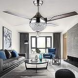Candelabros, Ventilador de techo de cristal moderna con luces 4 de acero inoxidable Hojas ventiladores de techo LED remoto 3 cambios de color 3 Velocidades LED iluminación de la lámpara, ultra silenci