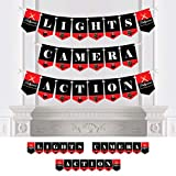 Big Dot of Happiness Red Carpet Hollywood - Movie Night Party Bunting Banner - Party Decorations - Lights, Camera, Action