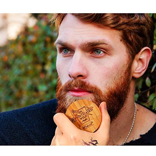BFwood Brosse à barbe pour homme en poils de sanglier naturels et manche rond en bois Base en...