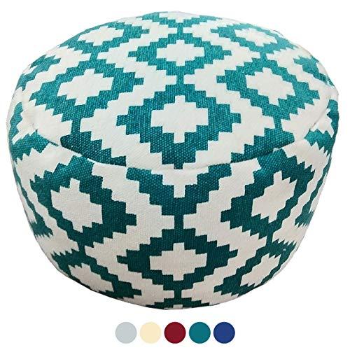 Soma zitkubus zitpoef voetenbank Ø 55 H 37 cm Pouf Kelim vloerkussen Bolivia turquoise rood blauw goud (BxHxL) 55 x 37 x 55 cm turquoise - caribic