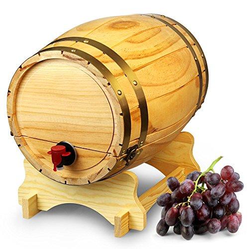 Dispensador de barril de vino de madera pino natural (10 L, Estilo Vintage Mesa Dispensador de vino