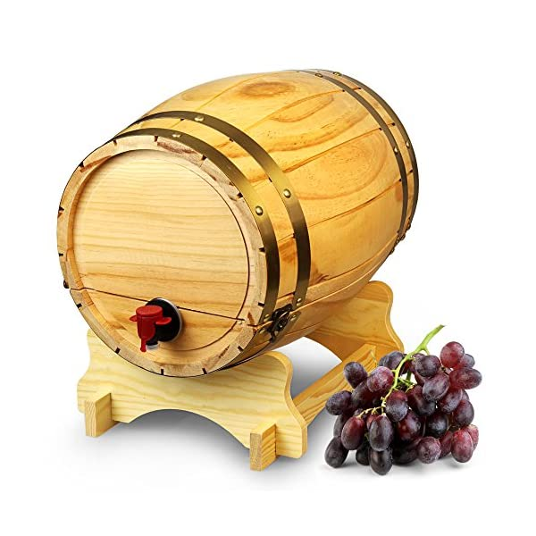 Dispensador de barril de vino de madera pino natural (10L, Estilo Vintage